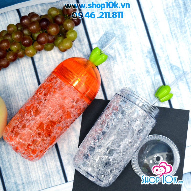 Ly nhựa 2 lớp in hình Hello LuoBo 400ml No.F18